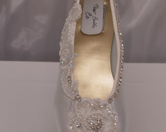 White Wedding Flats Pearls and Crystals,Bling,Bridal Flat shoes white lace appliqué,Satin Ballet style Slipper,Edwardian,Victorian, Romantic
