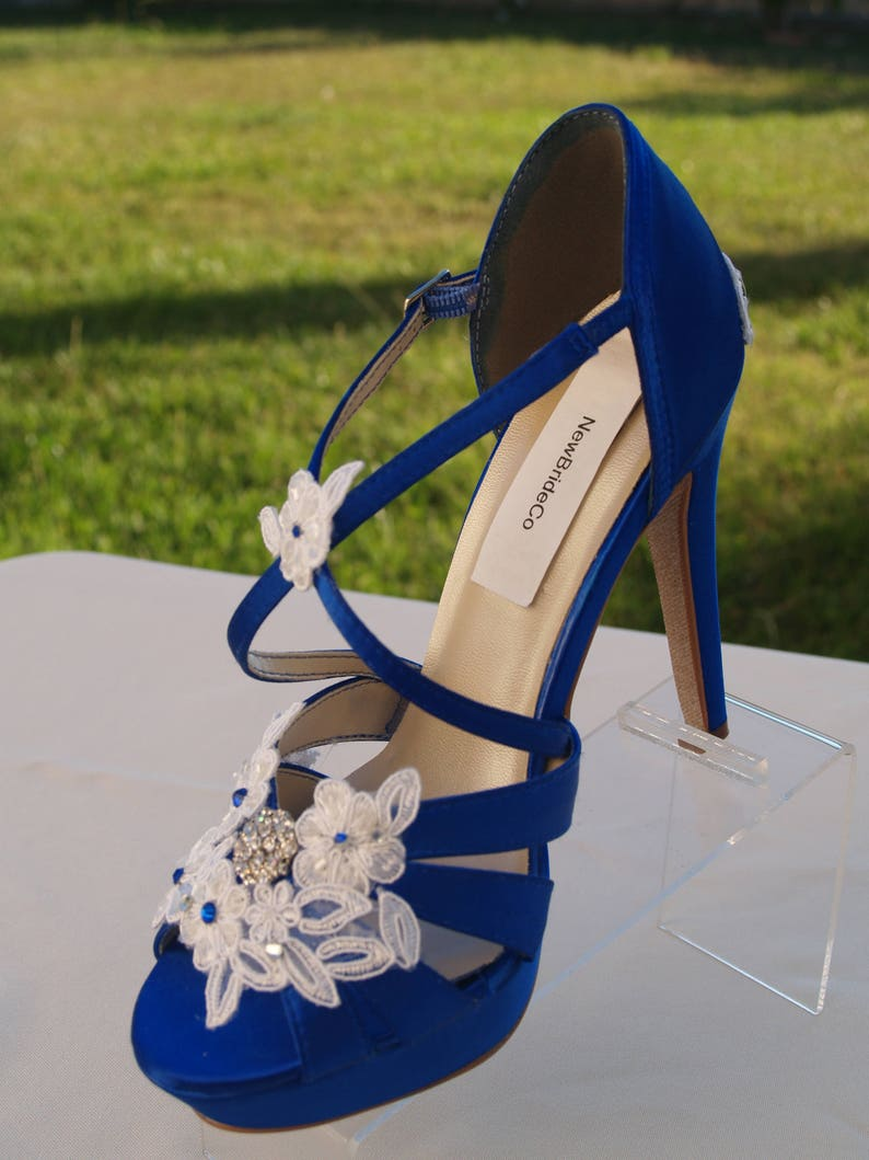 b8c91b5734a Royal Blue Size8.5 SHOES high heels 4'' Inches,White,Ivory, trimmed white,  or ivory floral appliques and crystals,Satin Wedge Peep Toe Heels