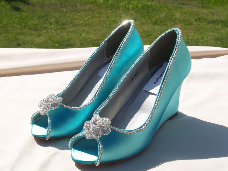 2a01044b18e Wedge Shoes Aqua Blue or 15 colors available, Peep Toe Satin Heels, Wedding  Shoes, Bridal Heels, Prom shoes, Mother of the Bride