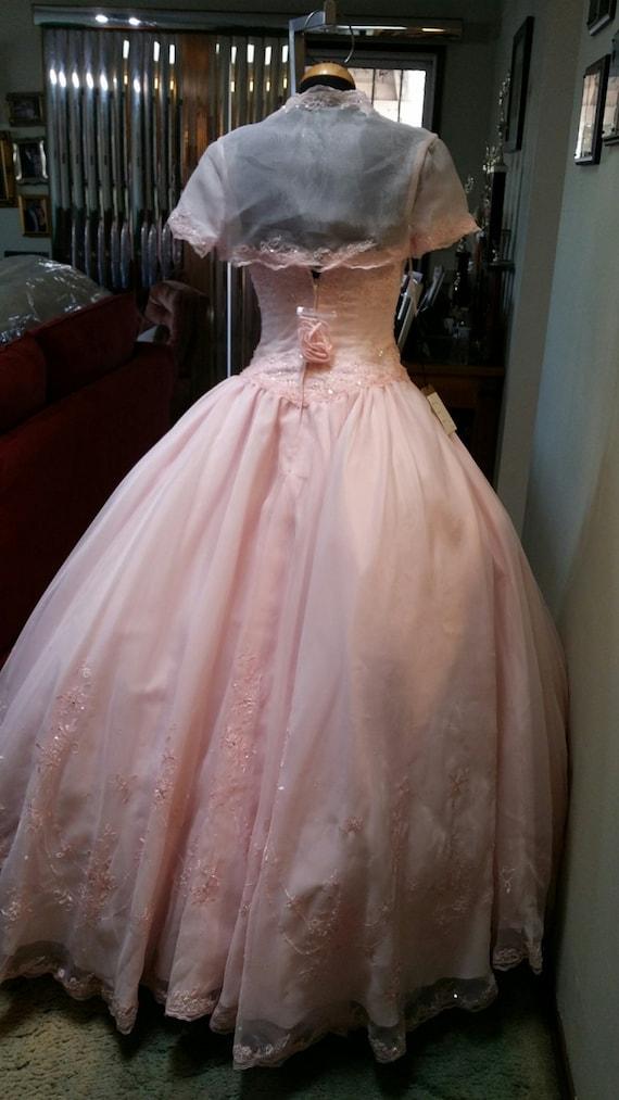 Pink Wedding Dress strapless and bolero jacket,Pin