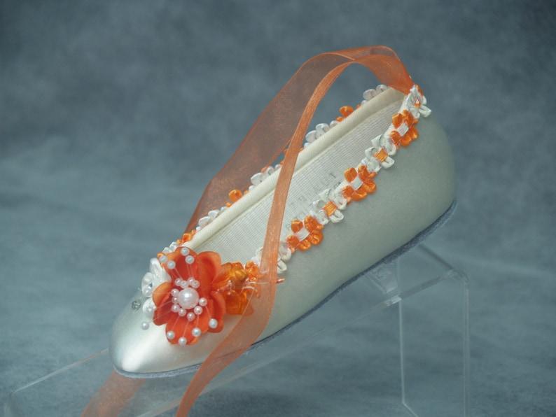 Ballet Style Slipper with orange flowers and a lace up ribbon Pageants Wedding Orange Flower Girl Wedding Flats Orange /& Ivory or White