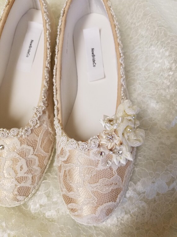 Champagne Ivory Wedding Flats Shoes