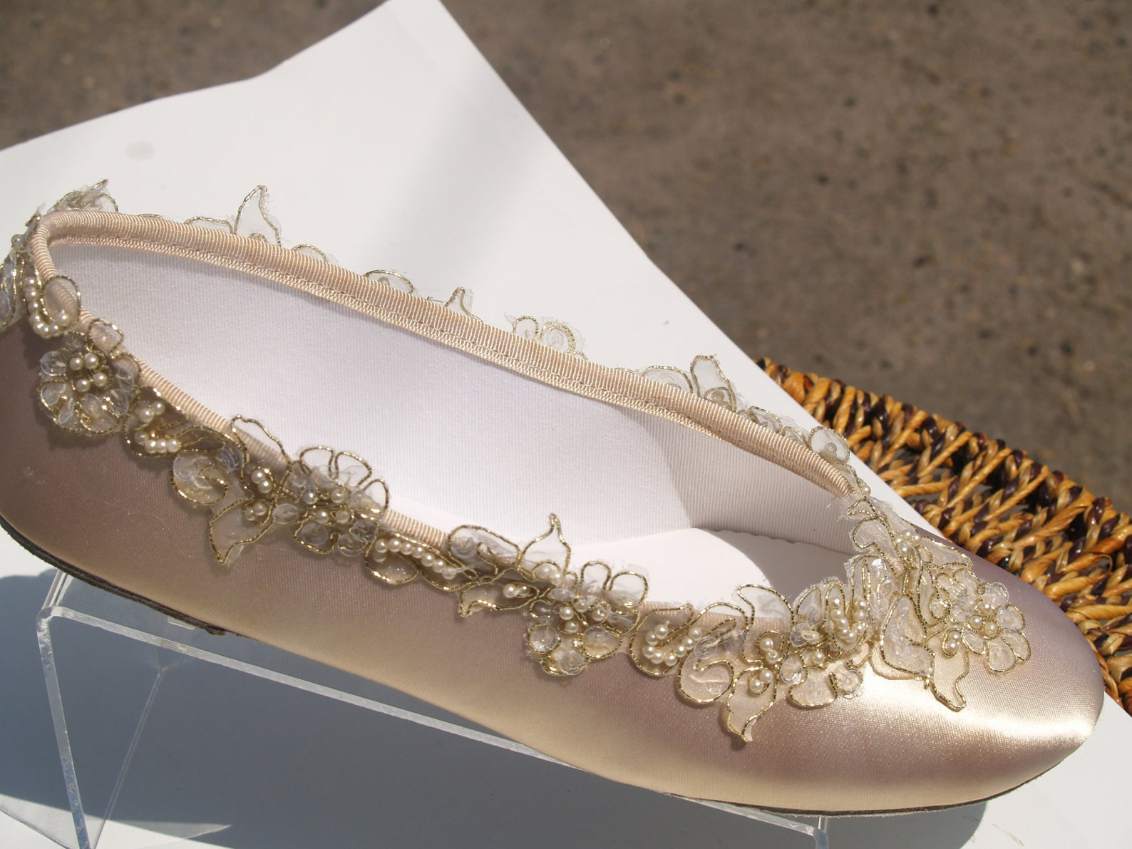 size 9 & 10 champagne wedding flats bridal shoe elegant gold trimmed,bridal flat shoes,satin ballet style slipper,romantic,ready