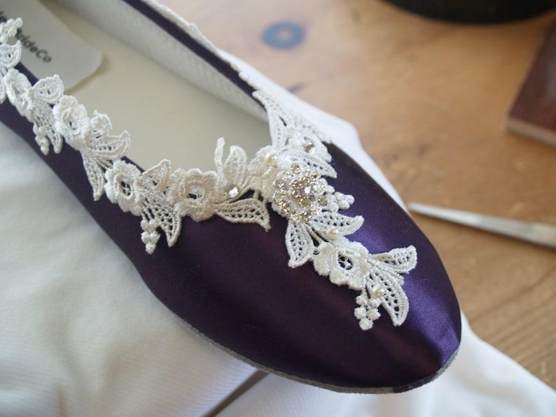 brand new e734a cdbf7 Eggplant Purple Flats Victorian Wedding Shoes Fine US Lace   Etsy