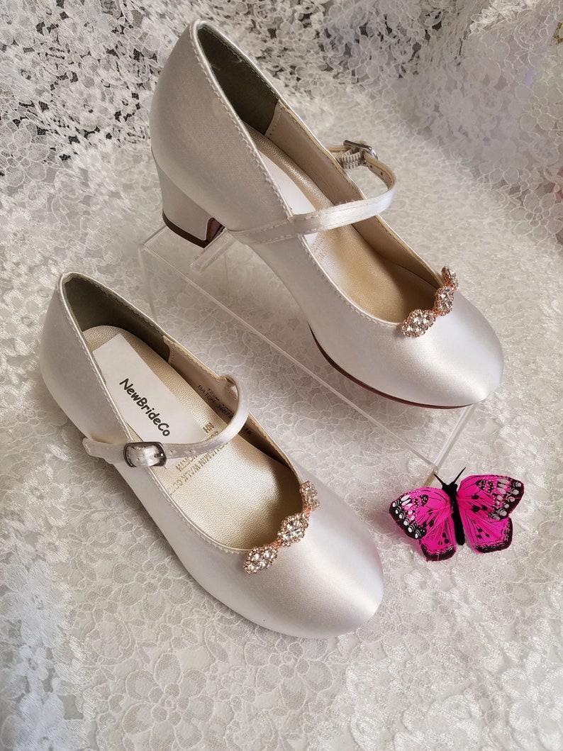 8cfcb9132302 Rose Gold Girls Communion Shoes crystals broochWhite plus