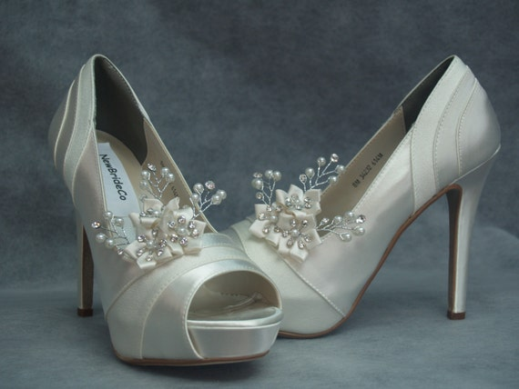 b1042623abd3 Wedding Shoes 4inch heels Ivory Heels with Swarovski