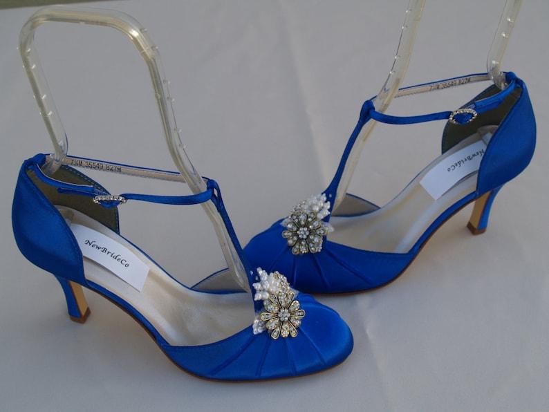 a6b65c1742fe79 Bleu royal mariage chaussures Vintage style les mariées | Etsy