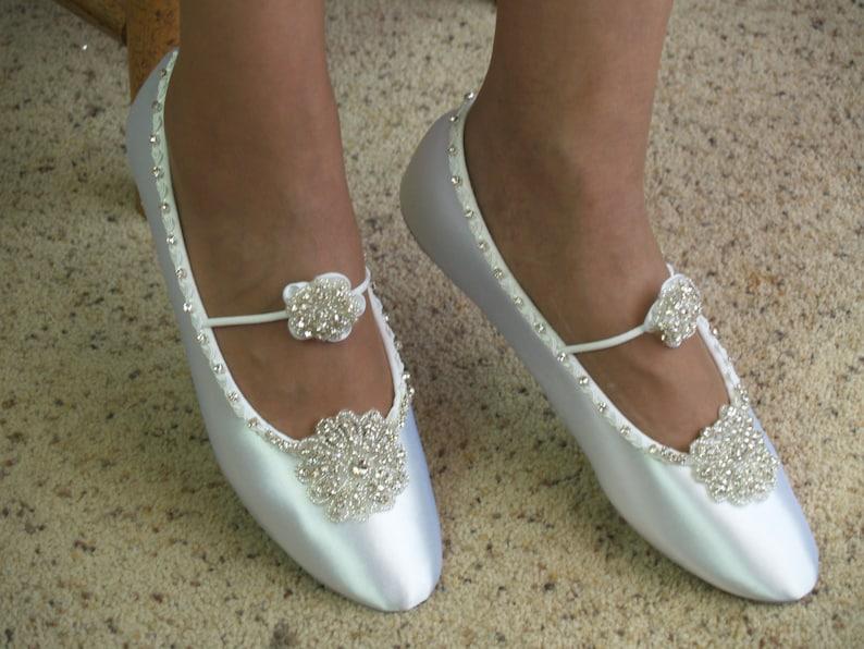 78431f933396 Wedding Shoes Ballet Style Swarovski Silver Crystals flowers