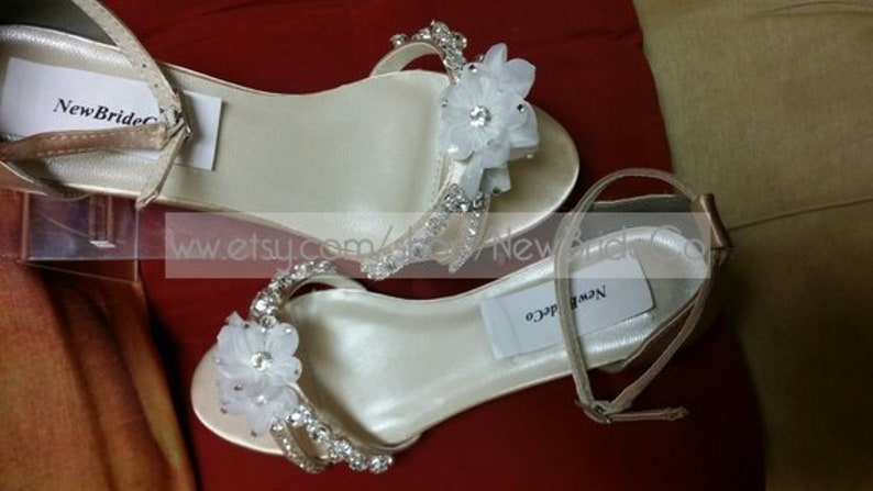 7dbc54b834 Bling Wedding Shoes low Wedge 1