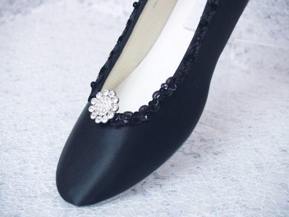 Black Wedding Shoes Dressy Flats Satin
