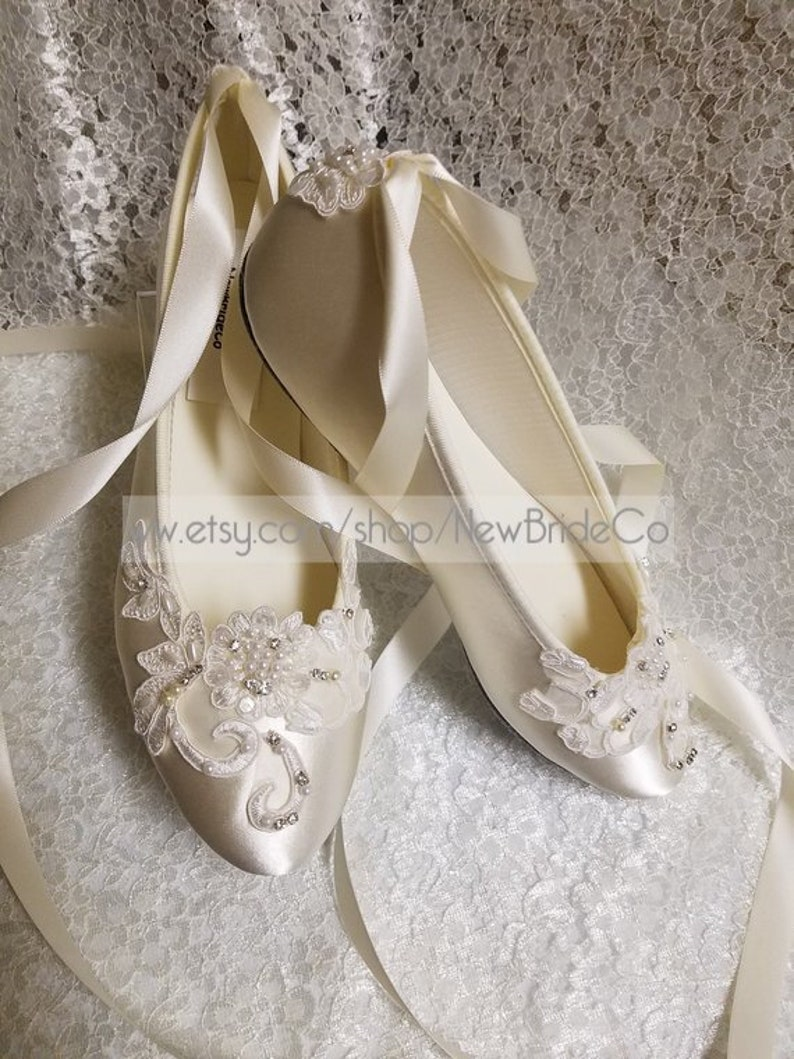 a1af98e7855 Brides Ivory Wedding Flat, Satin Ivory Shoes, Lace Applique with Pearls,  Lace Up Ribbon Ballet Style Slipper, Comfortable Wedding Shoes