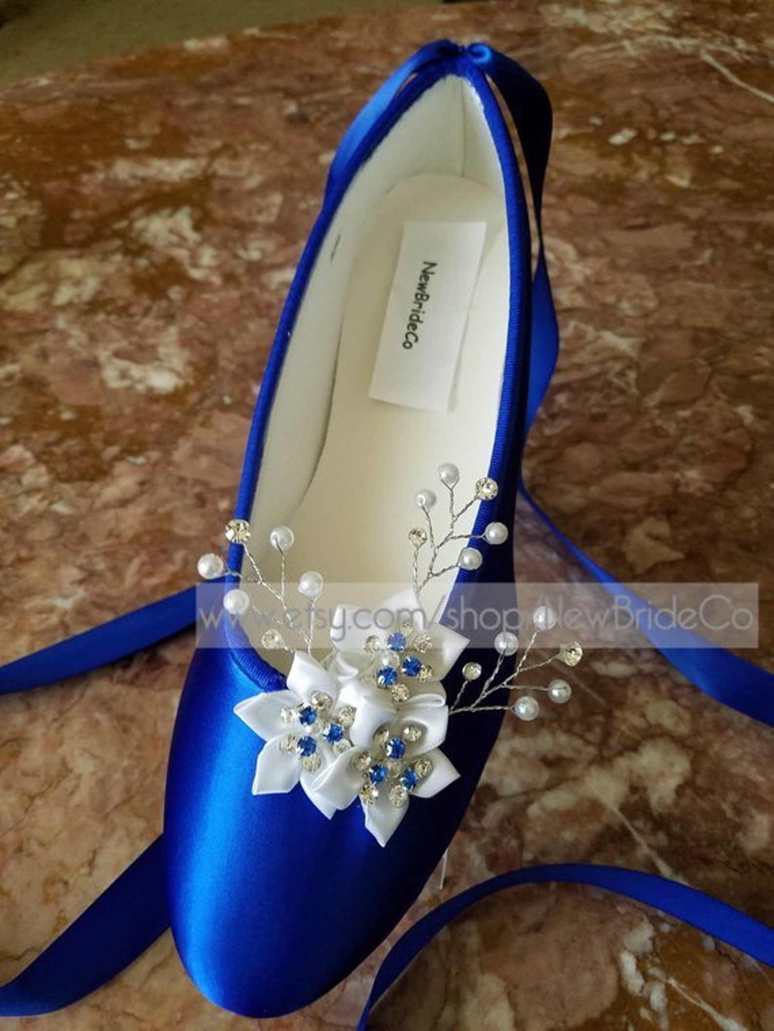 wedding royal blue flats crystals pearls,ballet style ivory slippers,flat shoes custom colors available,snowflake, romantic, lac