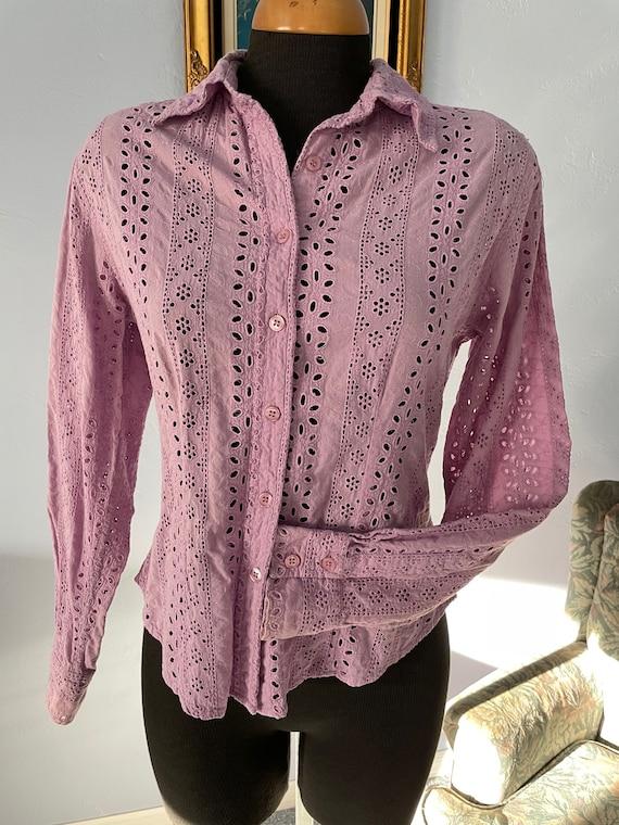 Lilac eyelet Vintage Blouse long sleeves US size … - image 5