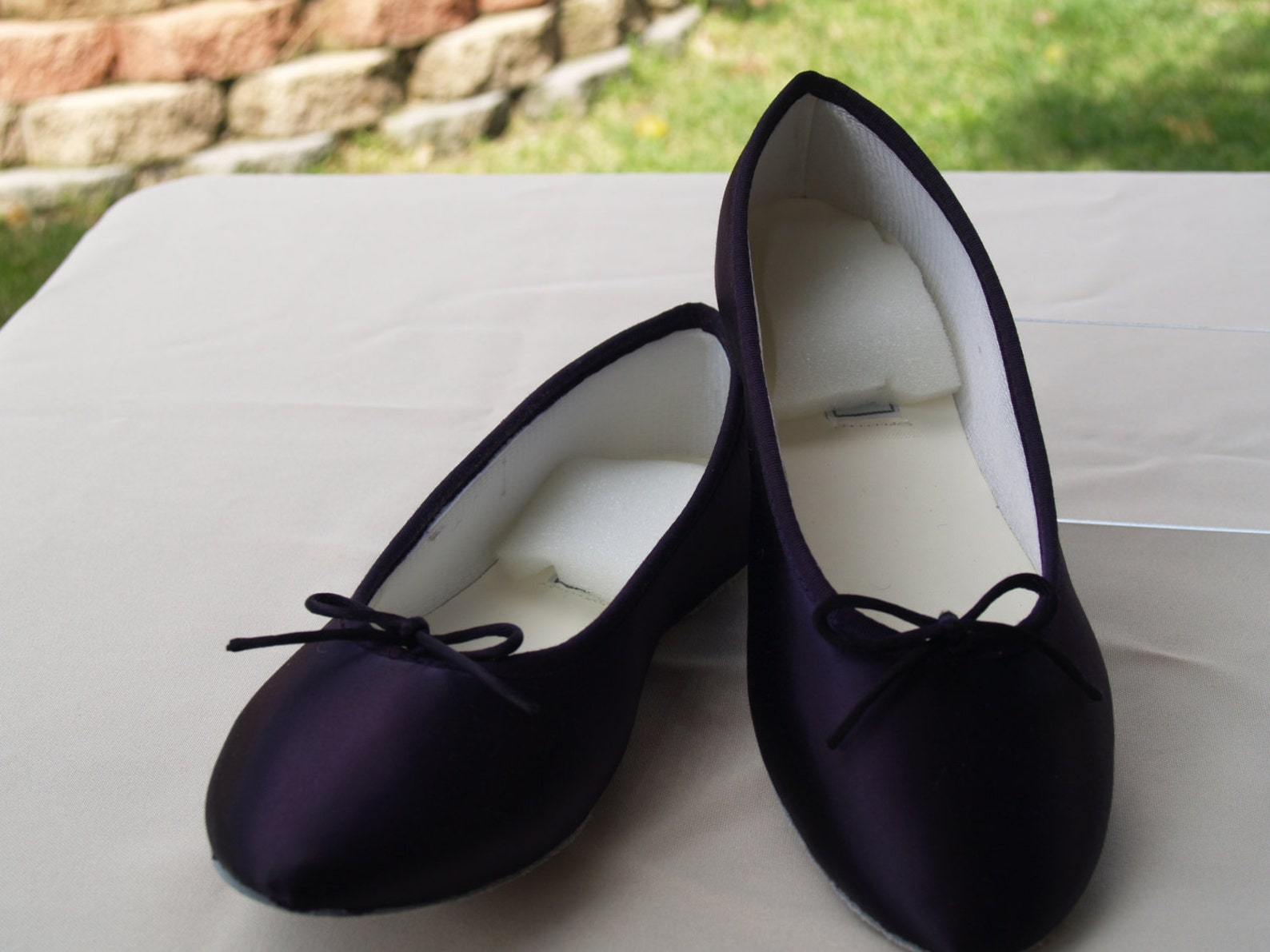 wedding dark eggplant shoes satin ballet style flat slipper, wedding shoes, bridesmaids, special occasion, comfort