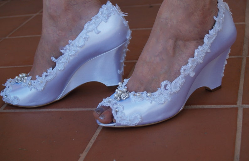 Brides Wedding Wedge Shoes Lace edging
