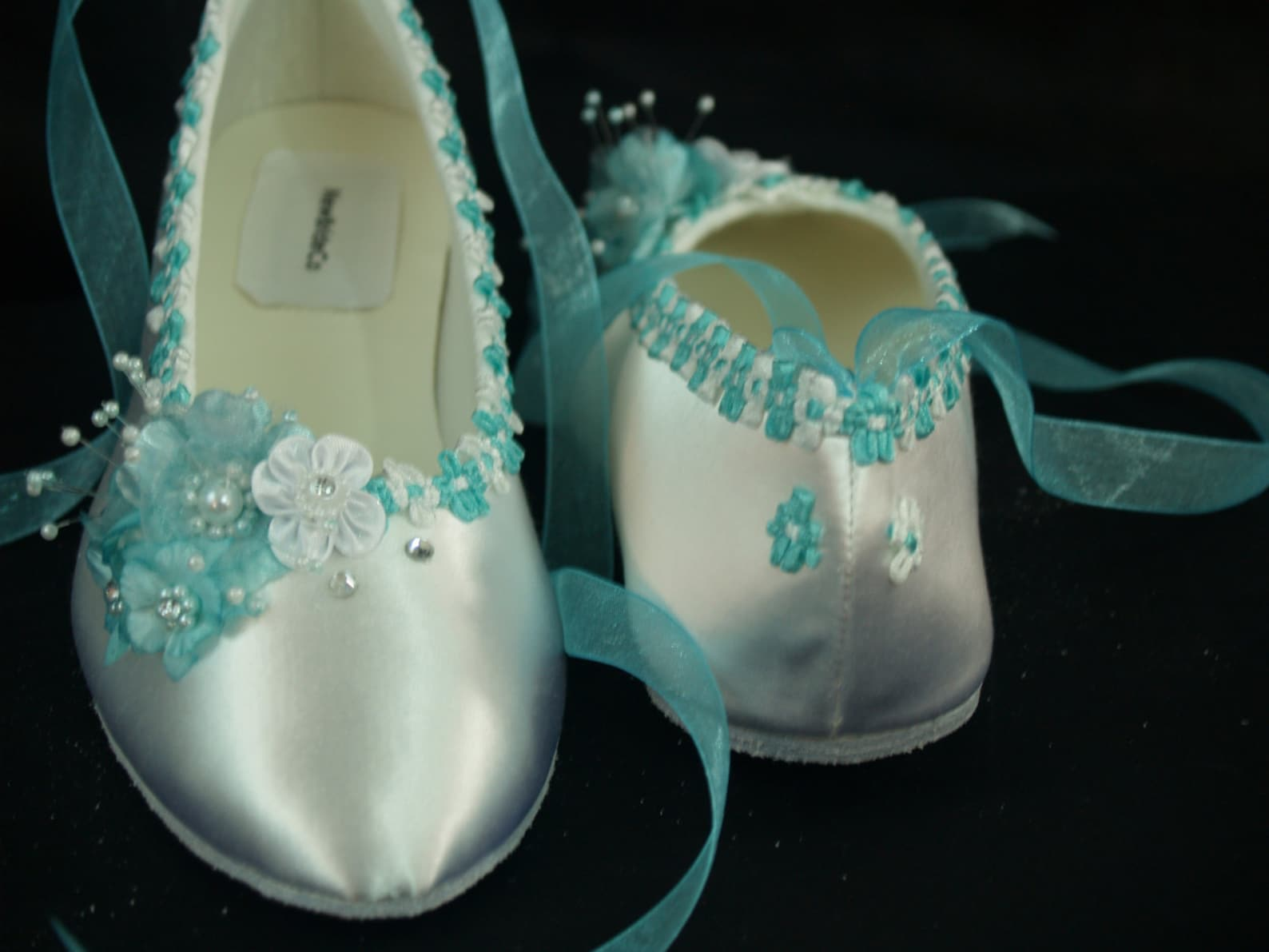 flat shoes aqua blue trims on ballet style slipper - aqua blue flat shoes, white satin flats, ribbon lace up flats, something bl