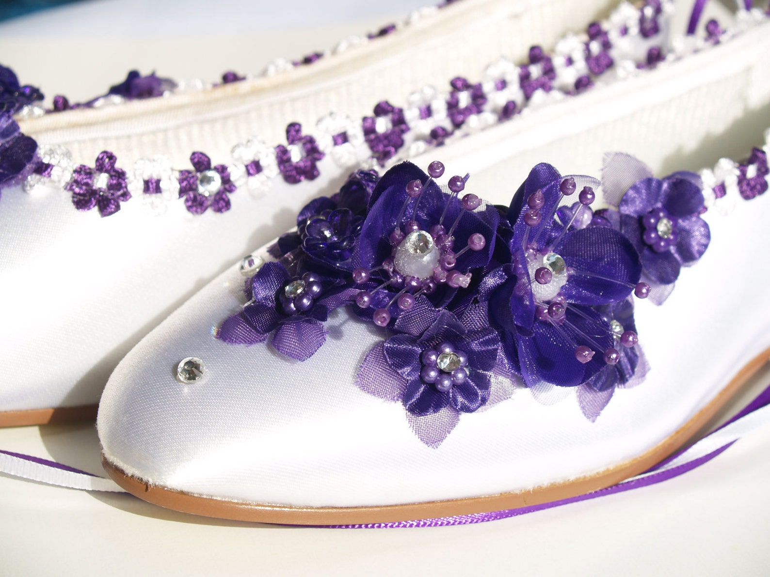 size 6 ready to ship purple silk flowers white satin flats,pearls,crystals, lace up ribbon,satin ballet style slippers,closed to