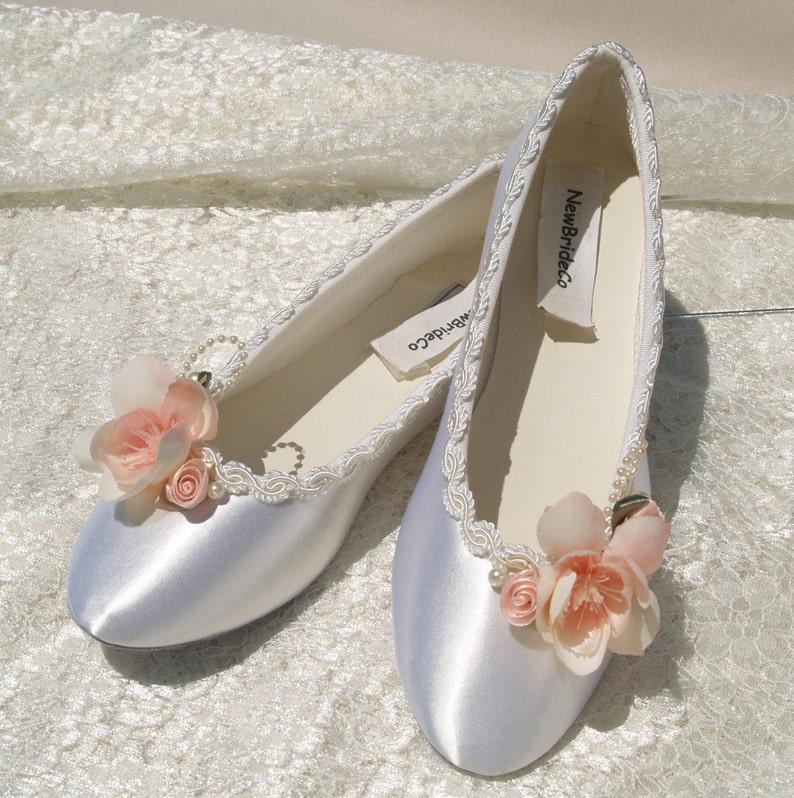 51ab2082330f Blush Pink Wedding Flats Satin Shoes Pink Bridal Flat shoes