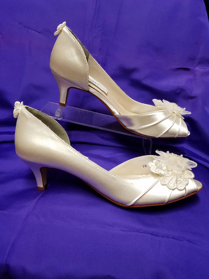 75454cf7dd7 Wedding Shoes short kitten heel Ivory or White or Off-White