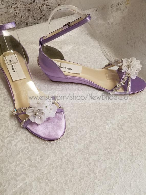 Bling Lilac Wedding Shoes Low Wedge 1 Inch Heel Etsy