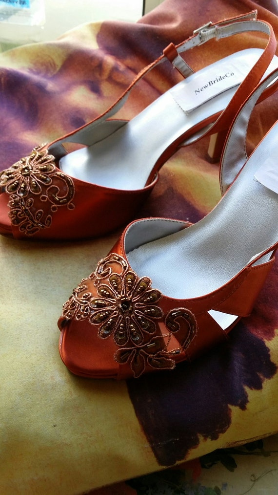 7bd1890b5db Copper Wedding Shoes Dyed Small Platform Peep Toe
