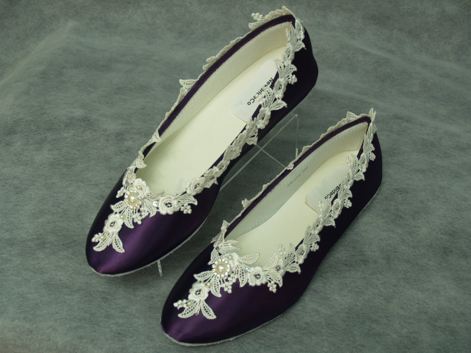 bridal victorian flats eggplant ivory shoes fine us lace pearls and crystals embellished, satin ballet slipper, deep purple with