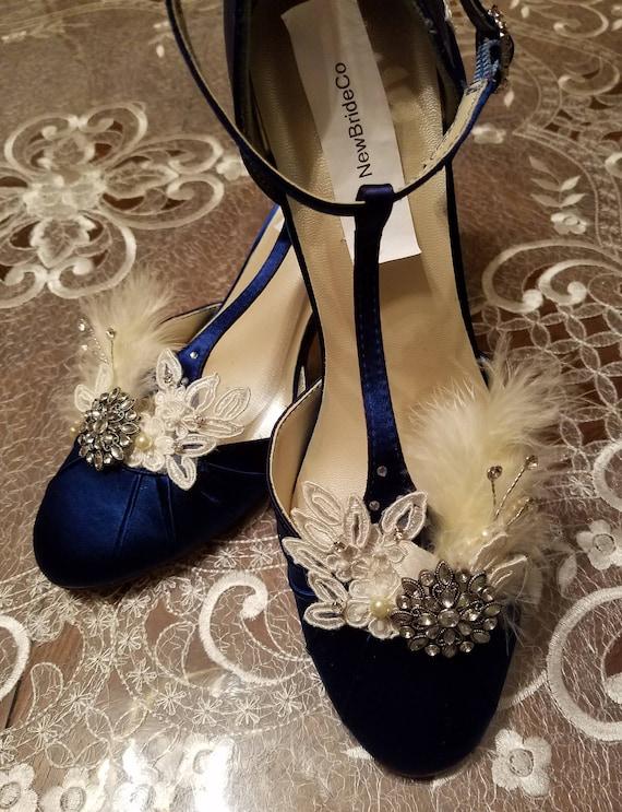 975283ebca1 Navy Blue Wedding Shoes Vintage 30s 40s style Something Blue