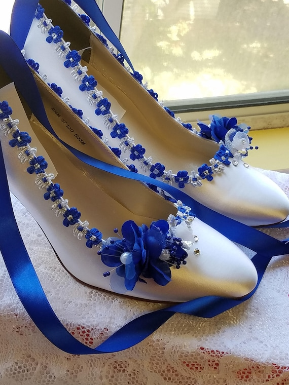 Something Blue Shoes Satin Closed Toe Pump Heels w Royal Blue  32267937f8d