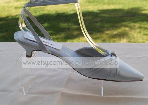 Silver Shoes Closed Toes Very Low Heel White Ivory Wedding Pointy Low Heel Silver Kitten Heel Ankle Strap