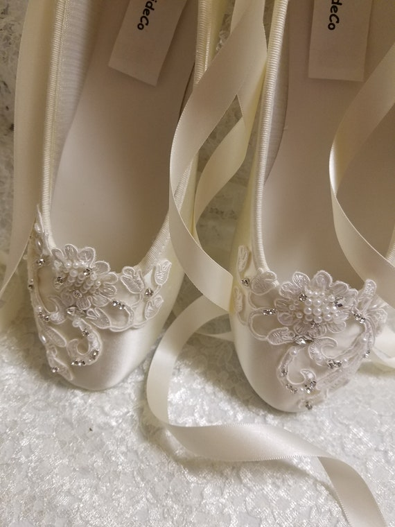 a840b38aad7af9 Ivory beaded Flats Ballerina style Satin Lace Appliqué Crystals Pearls