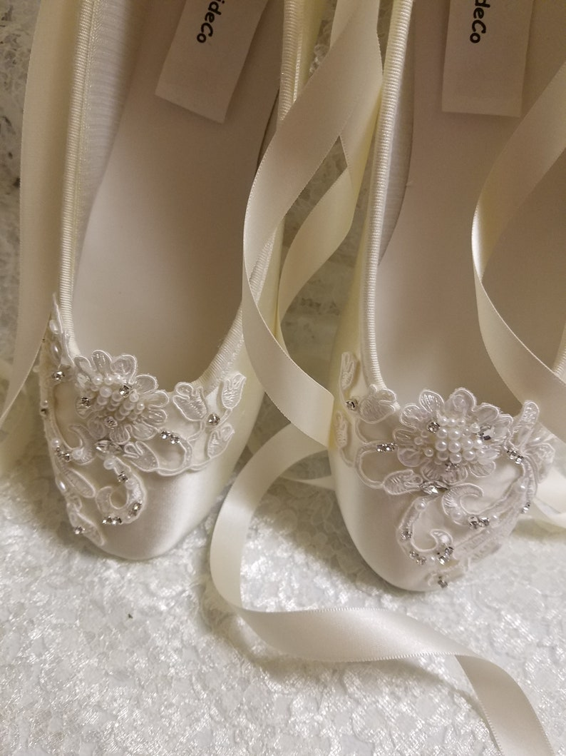 a0759c6d64 Ivory beaded Flats Ballerina style Satin Lace Appliqué Crystals Pearls,  Lace Up Ribbon Ballet Style Slipper, Comfortable Wedding Shoes