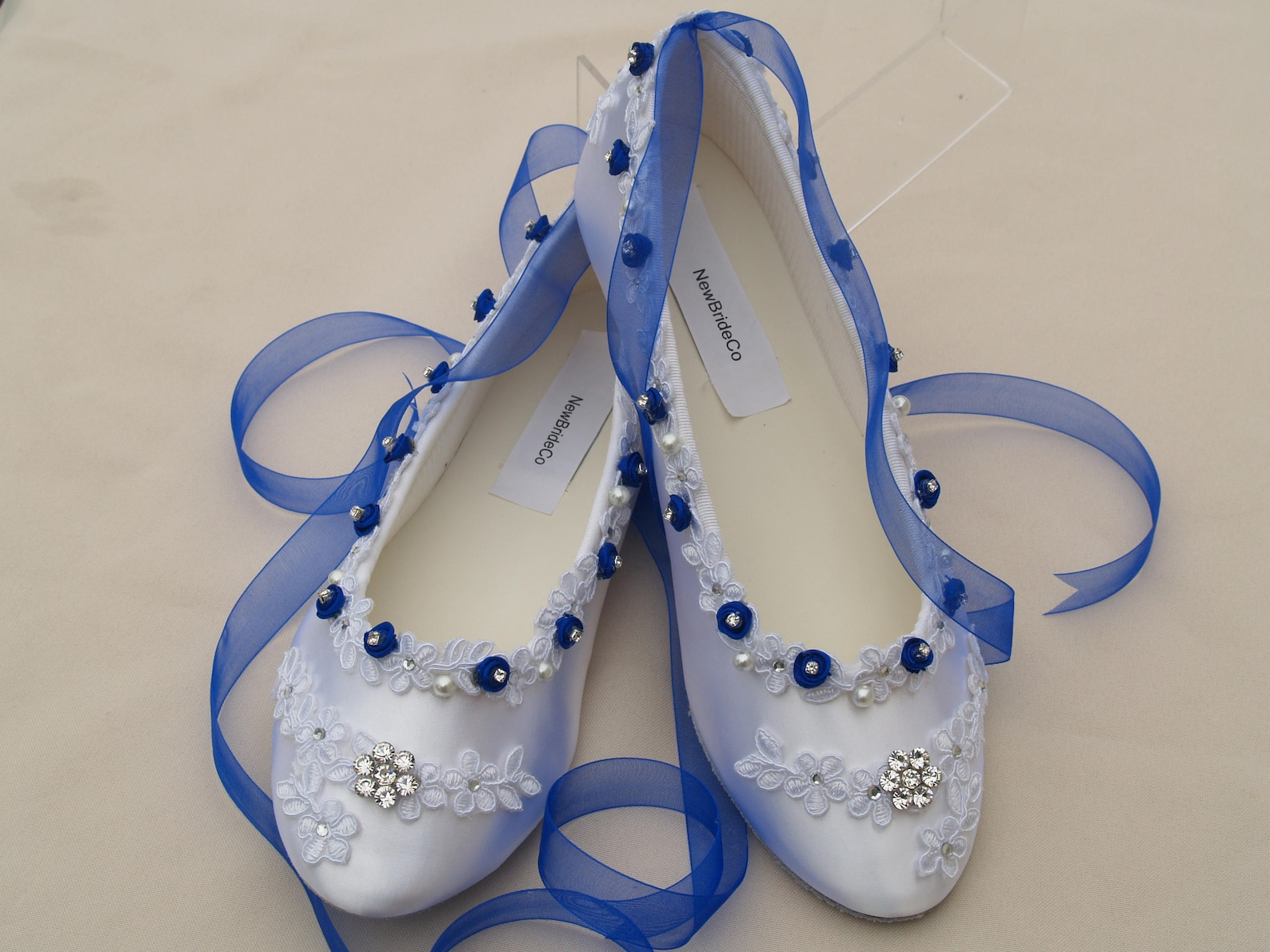 wedding royal blue flats white shoes venice lace edging with flowers crystals, romantic ballet style slipper, lace with pearls a