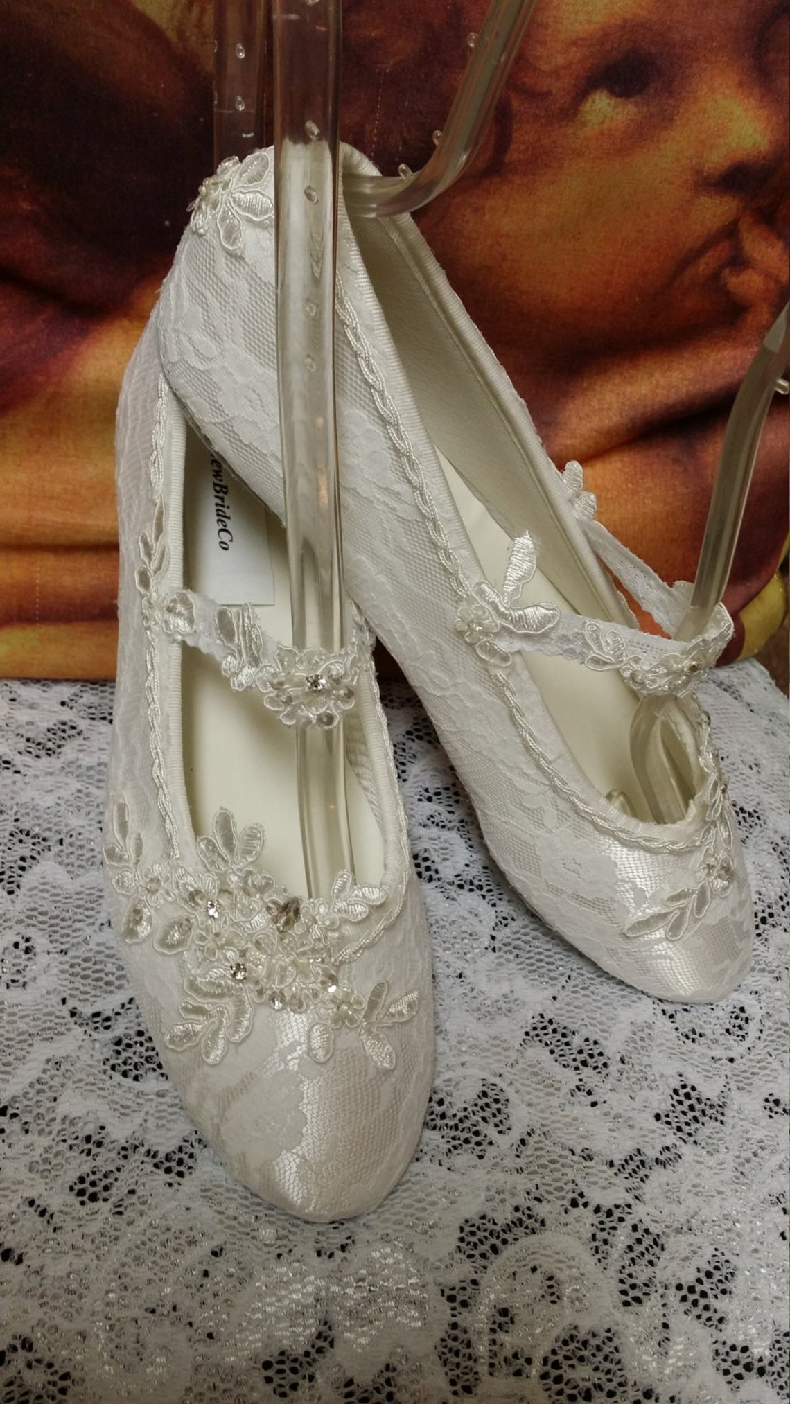 Off-white and Ivory Lace Wedding Flats Shoe Vintage inspired,Old Hollywood,Great Gatsby Style, Art Devo Nouveau, Romantic, Renaissance