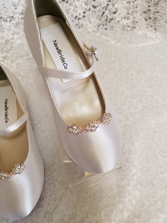 Girls Communion white Shoes Rose gold