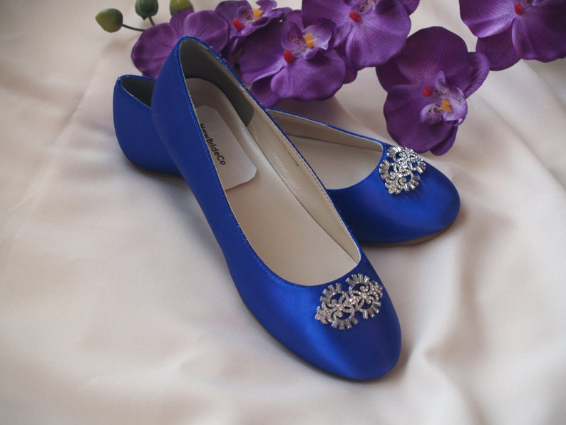 History of Victorian Boots & Shoes for Women Wedding Flat Royal Blue Shoes with Brooch Royal Blue plus 200 colorsSomething Blue ballet style slippersembellished satinCarrienon slip $108.00 AT vintagedancer.com