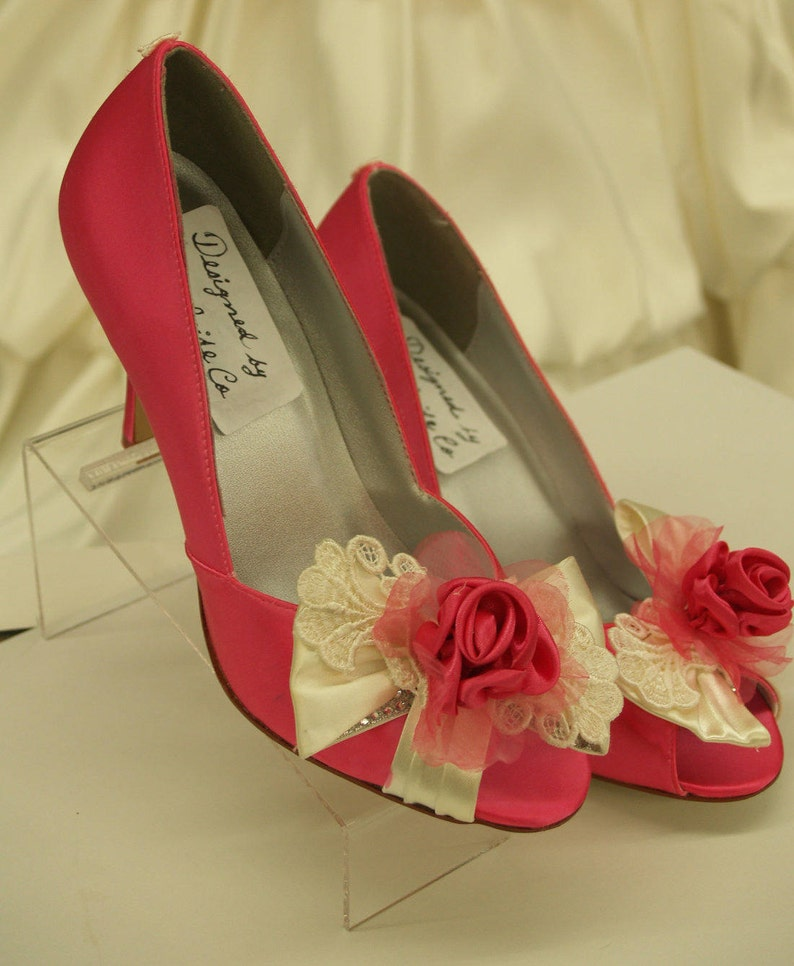 c97b9846d0c4 Size 8 1 2 Hot Pink Satin Pumps Ready to ship Prom Peep Toe