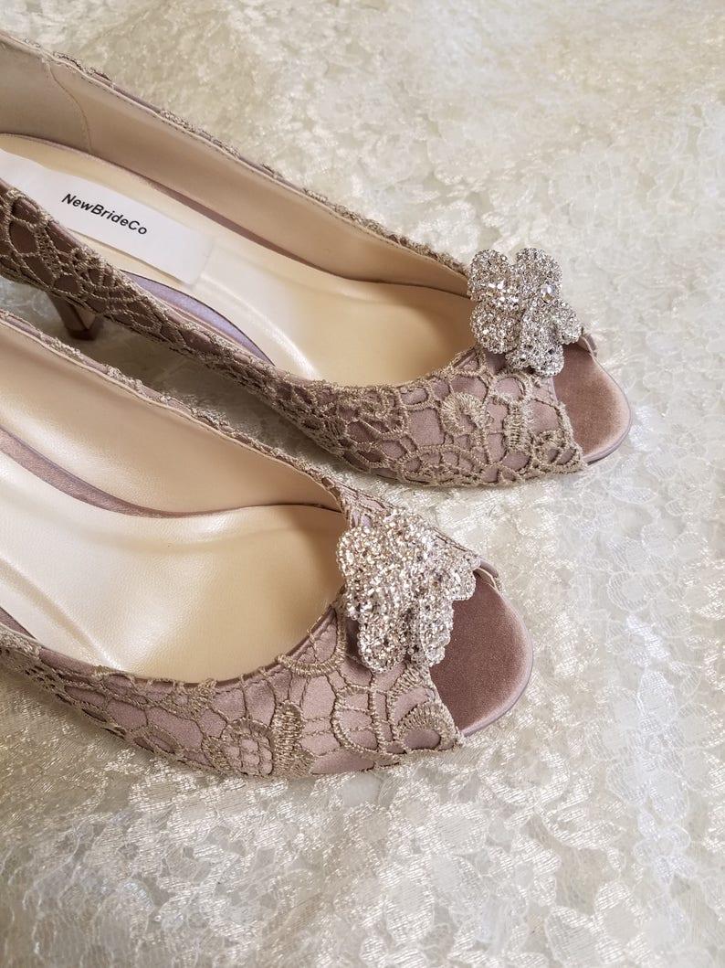 Chaussures Avec Cristaux Mi Mariage De Dentelle TalonTalon Ou Broche FleurEscarpins OuvertMariée Bling 14 '' Bout Ivoire Taupe 2 3luFKcT1J