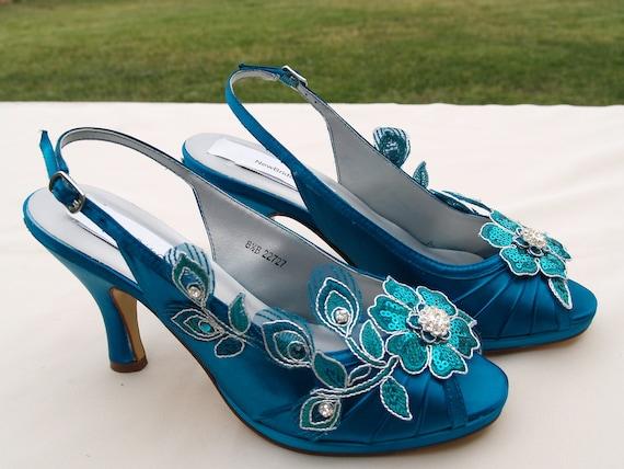 Teal Wedding Shoes PEACOCK Satin Heels hand embellished  78393b96a60c