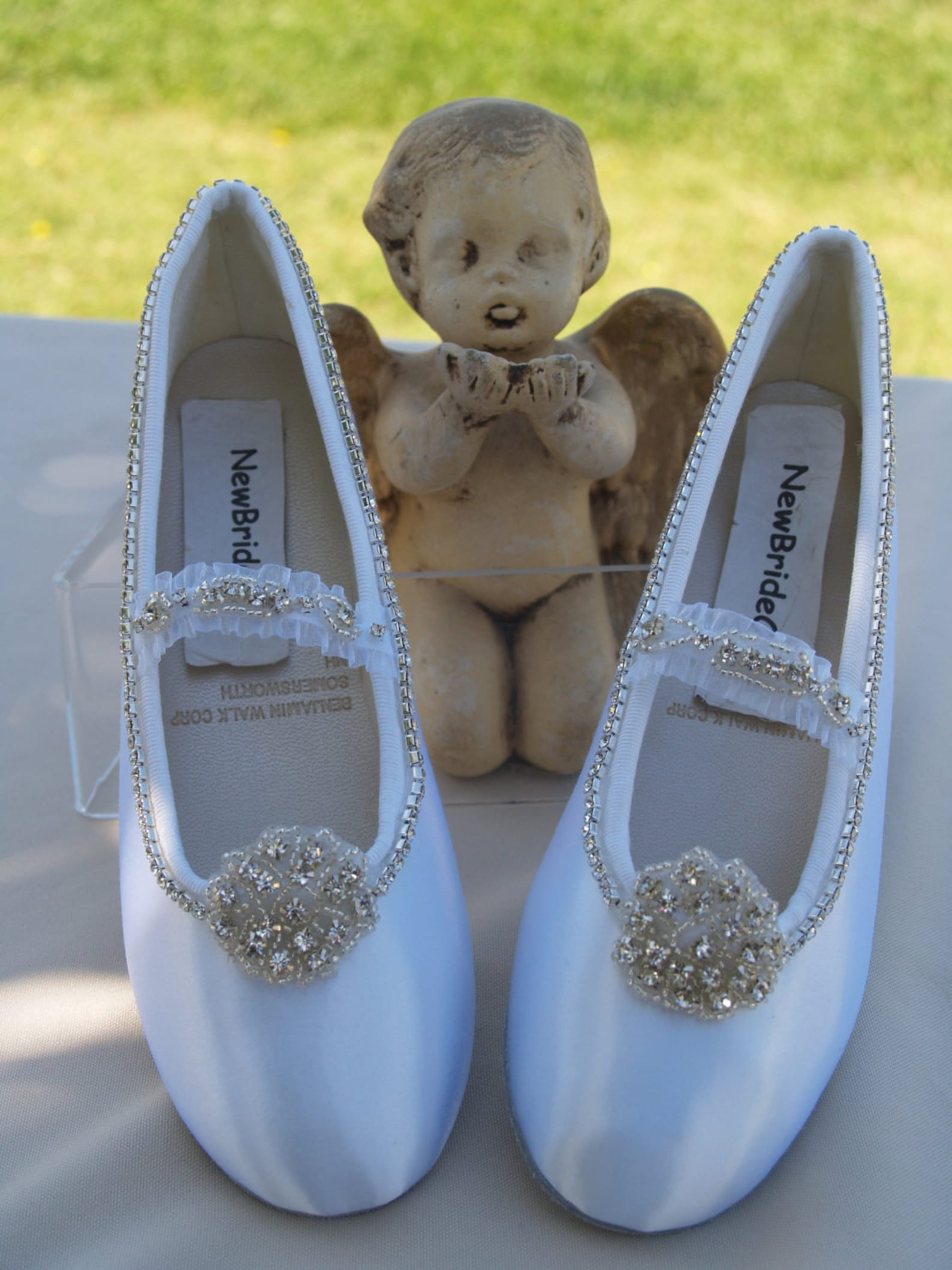 wedding shoes ballet style flats swarovski silver crystals flowers,bling white satin flats, luxurious, mary janes, old hollywood