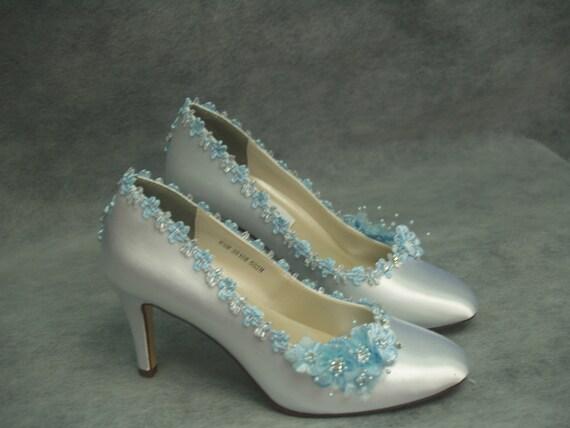 White Satin Closed Toe Pump Heels w