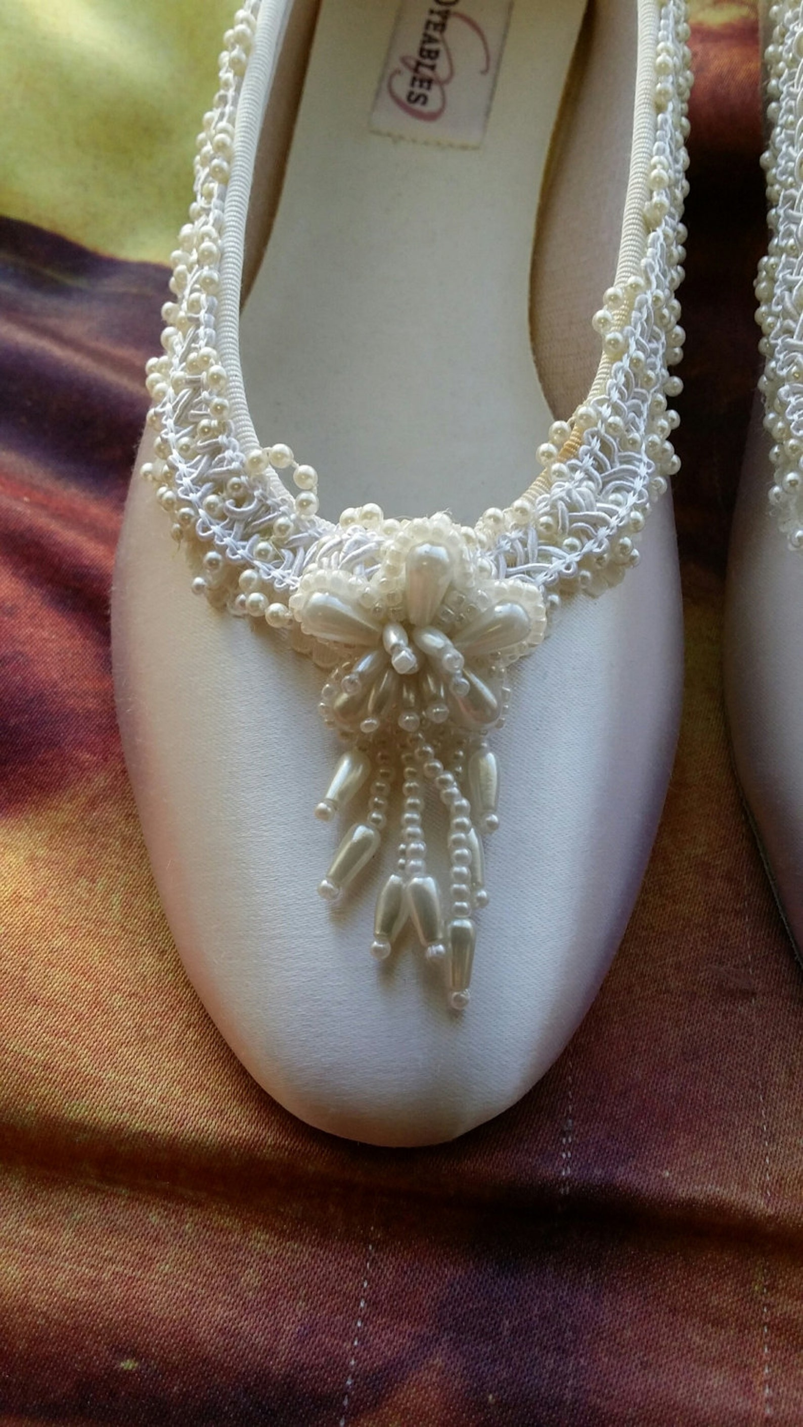 size 9 ballet style slippers offwhite satin w pearls flower,white bridal flats,pearl edging,white flowers,silver,ready to ship,