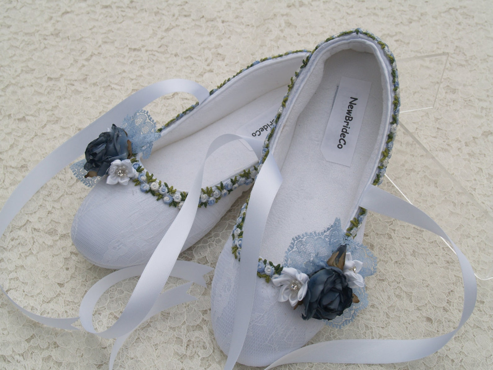 white blue bridal flats, vegan shoes trimmed blue, something blue flat shoes,off white ivory white,ballet style comfort slippers