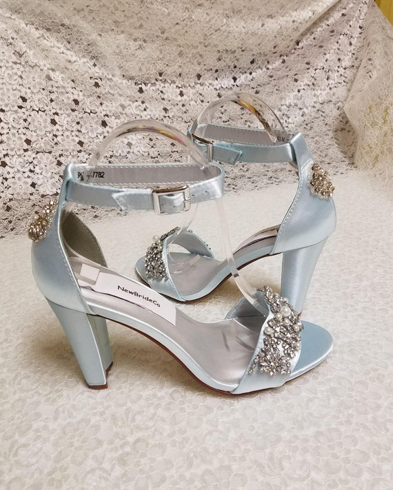 Blue Shoes Bridal thick heels trimmed