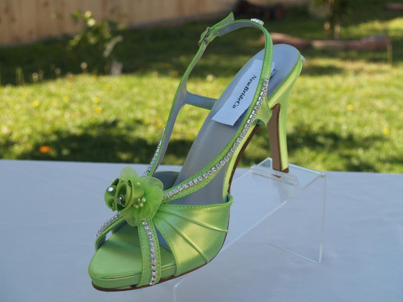 a214bec4c6e Neon Green HEELS, Wedding Heels Crystals and Flowers, peep toe SLINGBACK,  rhinestones embellished, rouged hand dyed satin