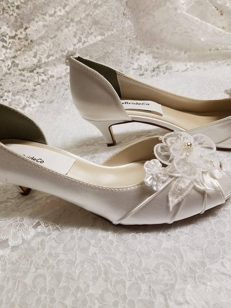 ea50c6d2b38 White Wedding Shoes kitten heel Ivory or White or Off-White