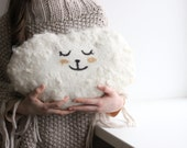 Cloud pillow - Felted wool pillow - handmade cushion - baby kids room decor - white wool pillow decorated with wool locks - made to oder