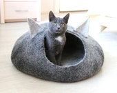 Cat bed, cat cave with ears, cat house, cat nap, handmade felt wool cat bed, black and natural white pet bed, pet lover gift, gift for pets