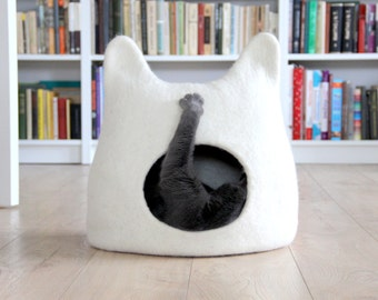 Cat bed cave from natural white felted wool. Warm and comfy pet bed. Cat lovers gift.