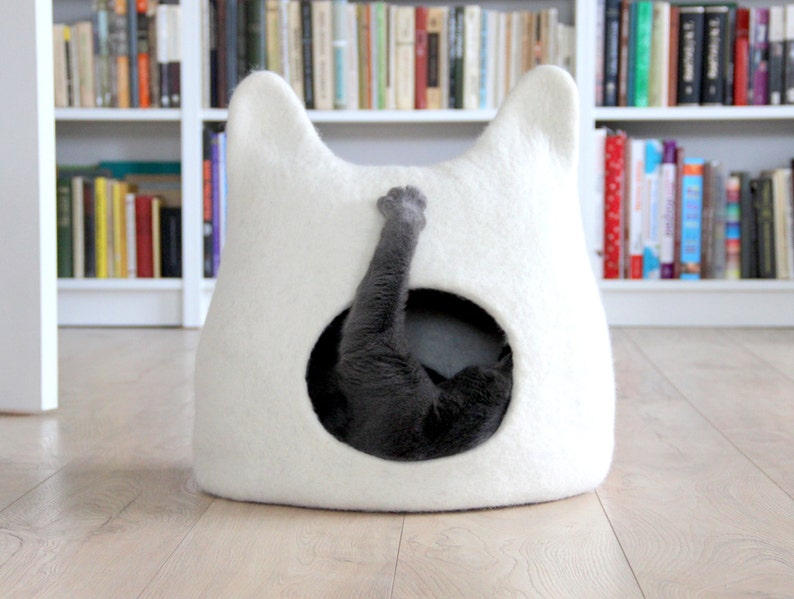 Cat bed cave from natural white felted wool. Warm and comfy image 0
