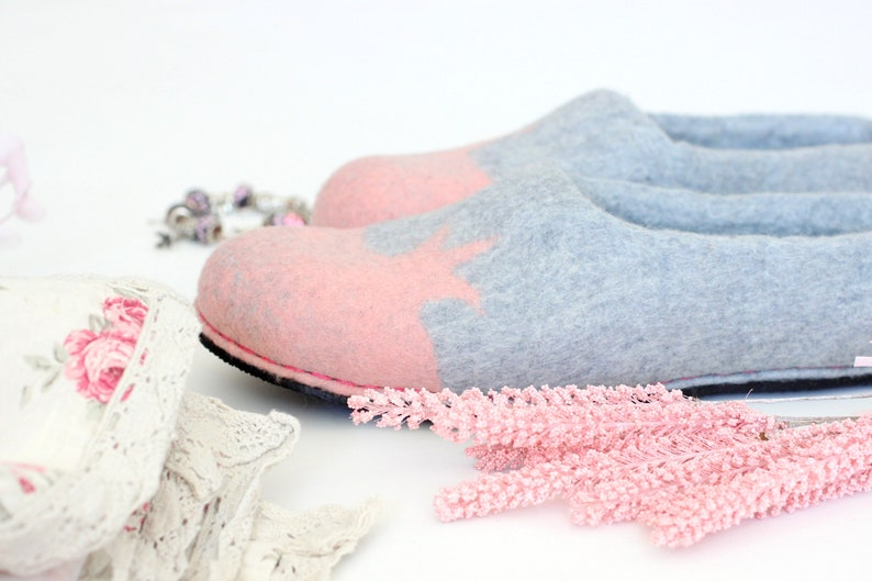 6778b3a308429 Felt house shoes Princess. Women slippers with crown. Wedding bridesmaid  gift.